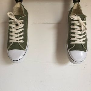 Maurices army green distressed sneakers size 8.5